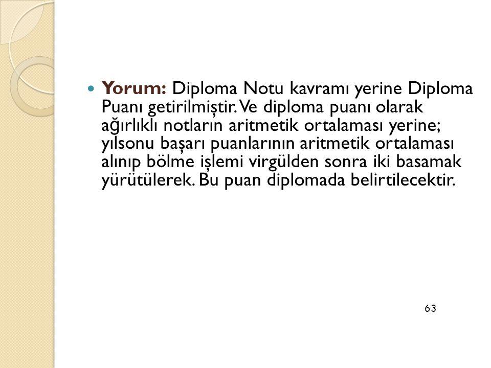 Yorum: Diploma Notu kavramı yerine Diploma Puanı getirilmiştir