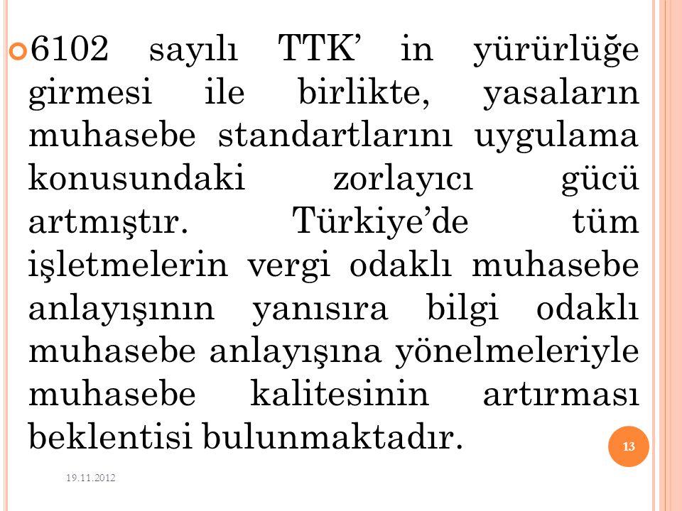 6102 sayılı TTK' in yürürlüğe girmesi ile birlikte, yasaların muhasebe standartlarını uygulama konusundaki zorlayıcı gücü artmıştır. Türkiye'de tüm işletmelerin vergi odaklı muhasebe anlayışının yanısıra bilgi odaklı muhasebe anlayışına yönelmeleriyle muhasebe kalitesinin artırması beklentisi bulunmaktadır.