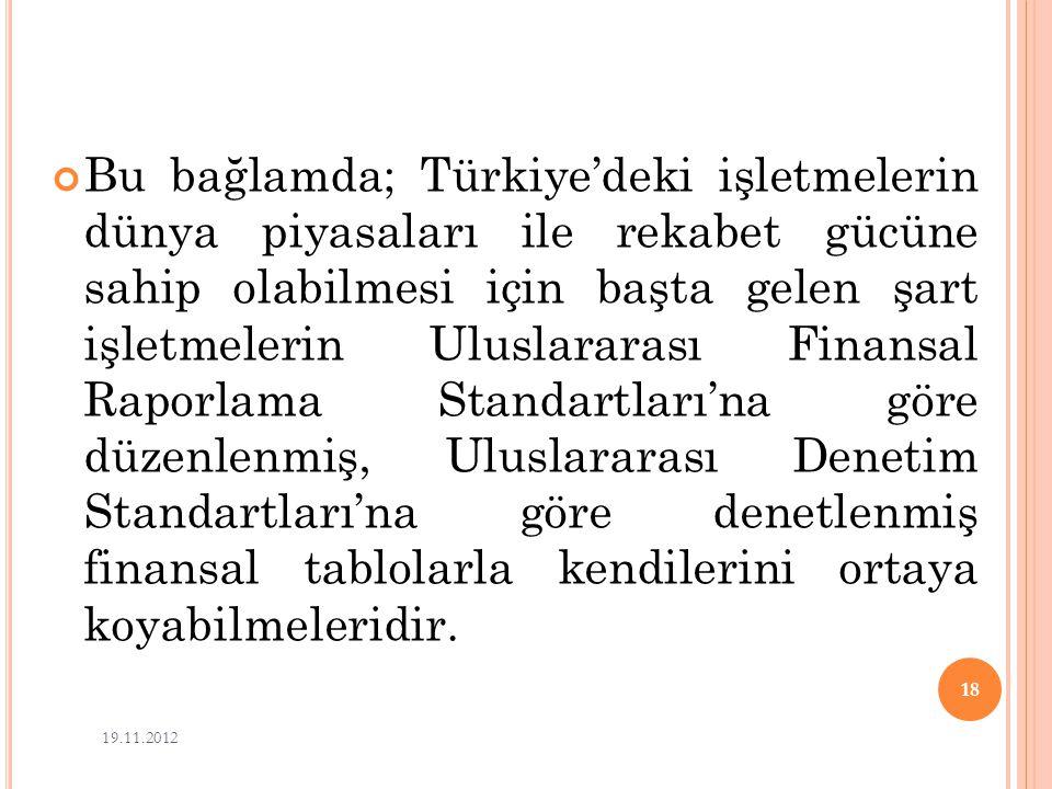 Bu bağlamda; Türkiye'deki işletmelerin dünya piyasaları ile rekabet gücüne sahip olabilmesi için başta gelen şart işletmelerin Uluslararası Finansal Raporlama Standartları'na göre düzenlenmiş, Uluslararası Denetim Standartları'na göre denetlenmiş finansal tablolarla kendilerini ortaya koyabilmeleridir.