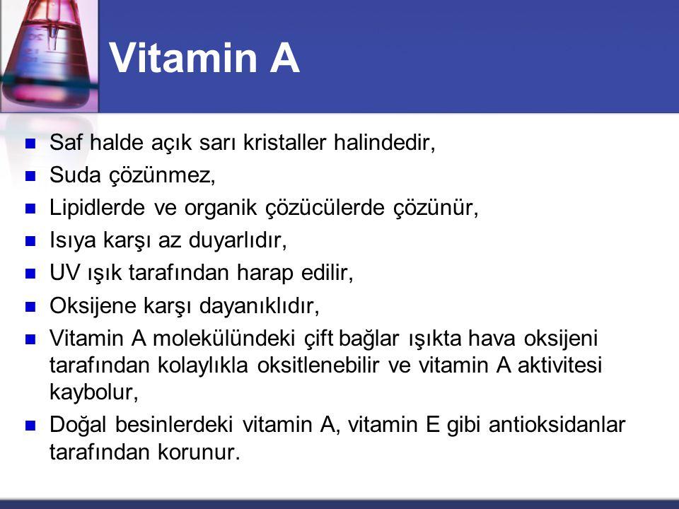 Vitamin A Saf halde açık sarı kristaller halindedir, Suda çözünmez,