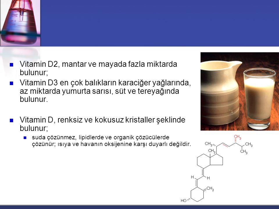 Vitamin D2, mantar ve mayada fazla miktarda bulunur;