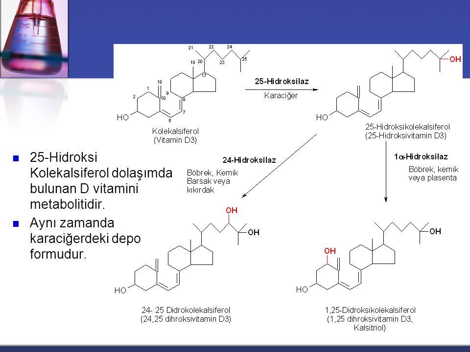 25-Hidroksi Kolekalsiferol dolaşımda bulunan D vitamini metabolitidir.