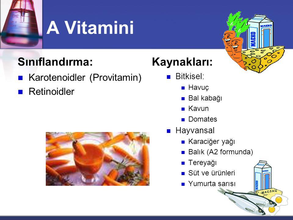A Vitamini Sınıflandırma: Kaynakları: Karotenoidler (Provitamin)