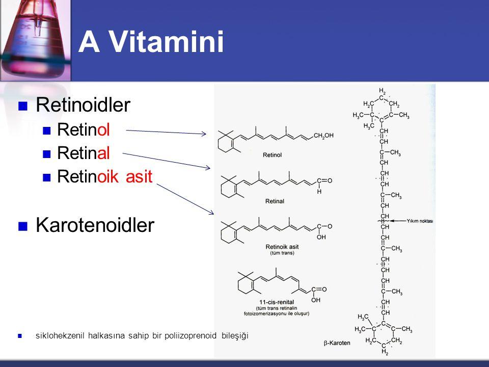 A Vitamini Retinoidler Karotenoidler Retinol Retinal Retinoik asit