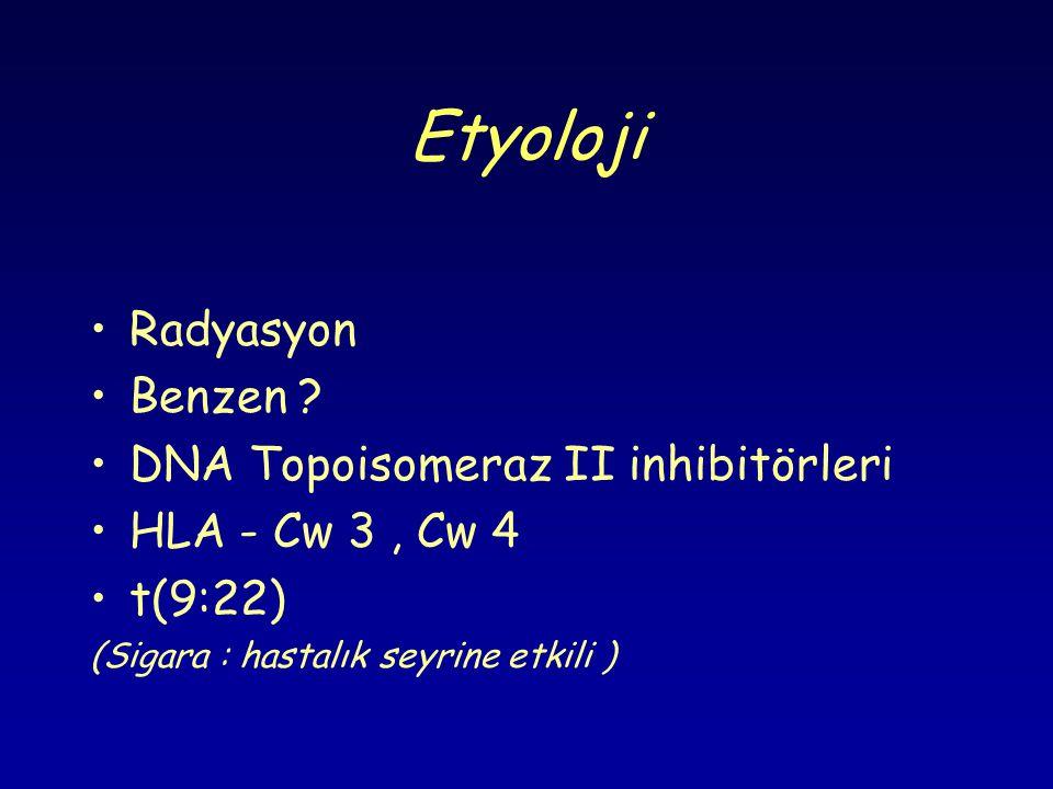 Etyoloji Radyasyon Benzen DNA Topoisomeraz II inhibitörleri