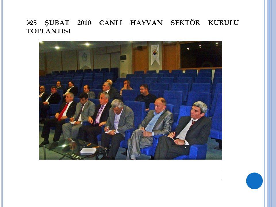 25 ŞUBAT 2010 CANLI HAYVAN SEKTÖR KURULU TOPLANTISI