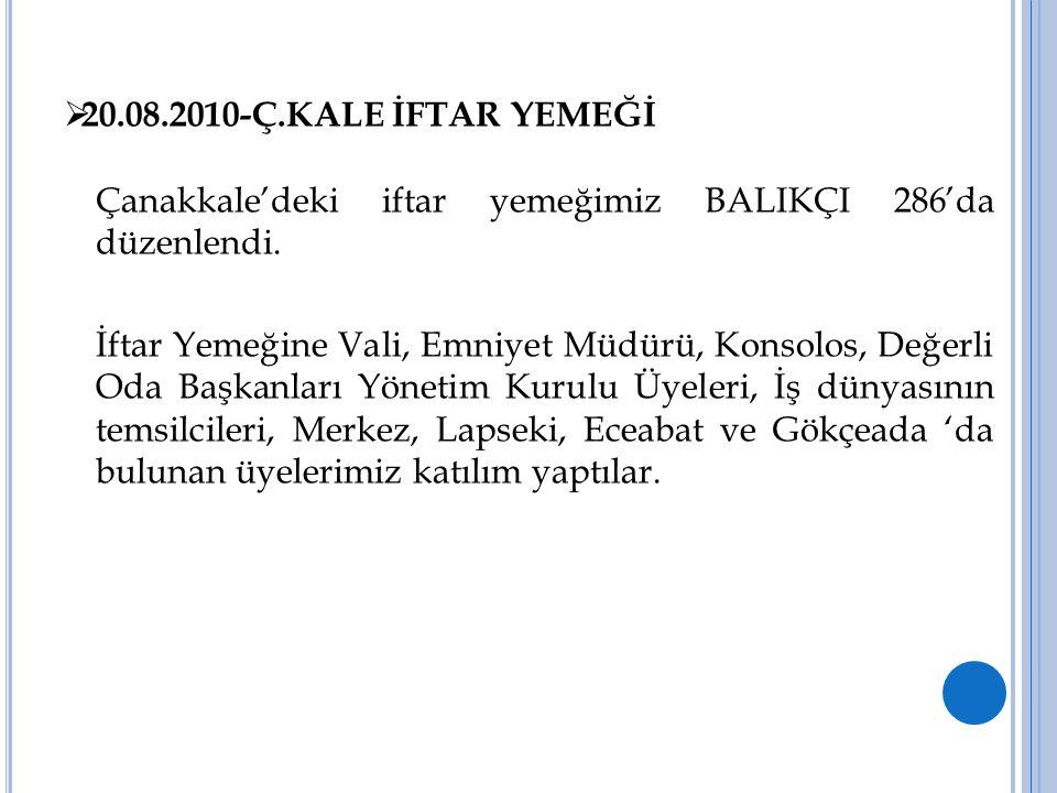 20.08.2010-Ç.KALE İFTAR YEMEĞİ Çanakkale'deki iftar yemeğimiz BALIKÇI 286'da düzenlendi.
