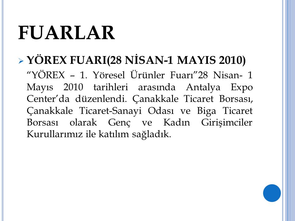 FUARLAR YÖREX FUARI(28 NİSAN-1 MAYIS 2010)