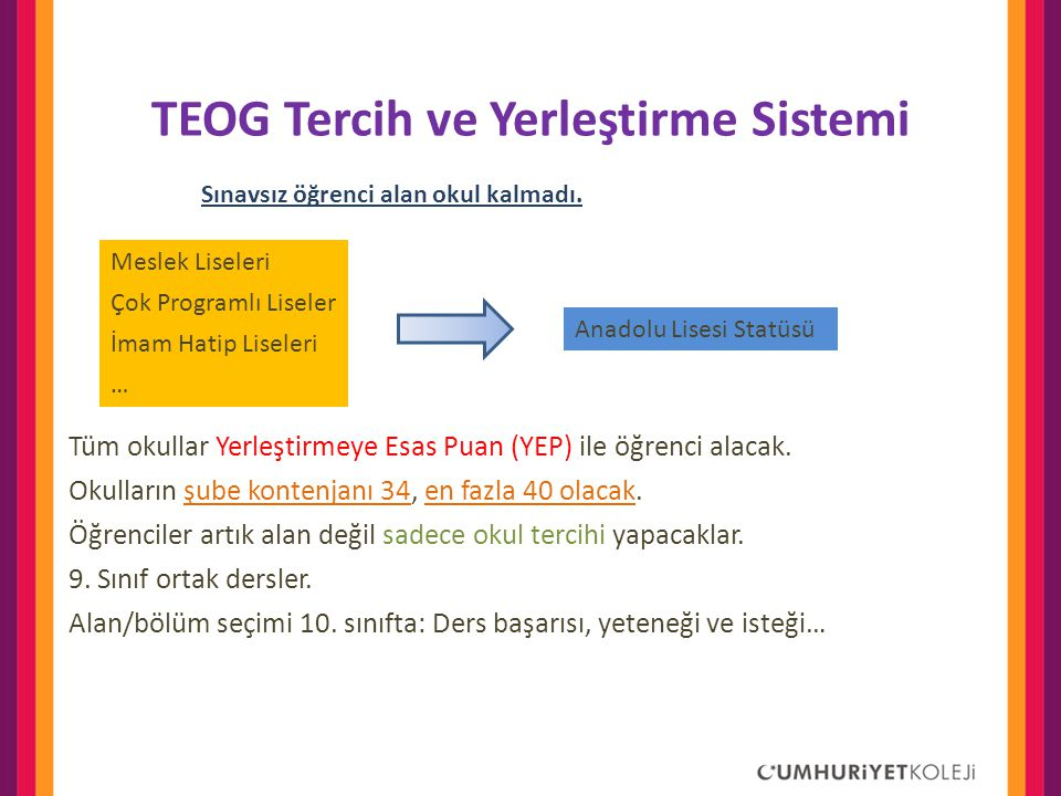 TEOG Tercih ve Yerleştirme Sistemi