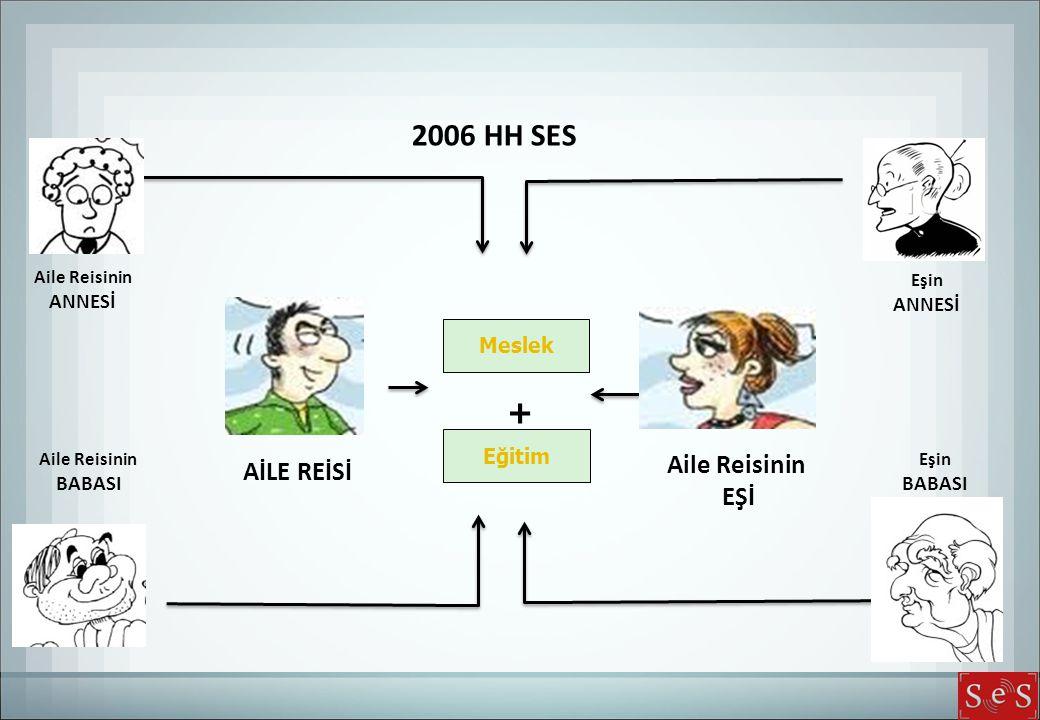 2006 HH SES + Aile Reisinin AİLE REİSİ EŞİ ANNESİ ANNESİ Meslek Eğitim