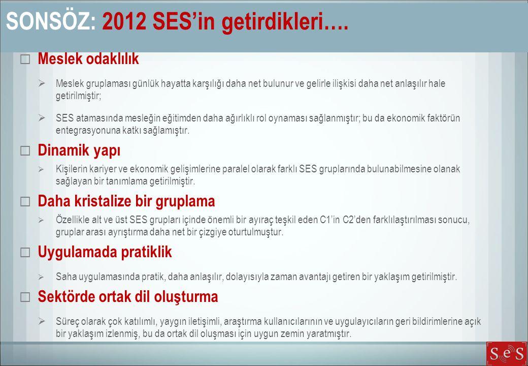 SONSÖZ: 2012 SES'in getirdikleri….