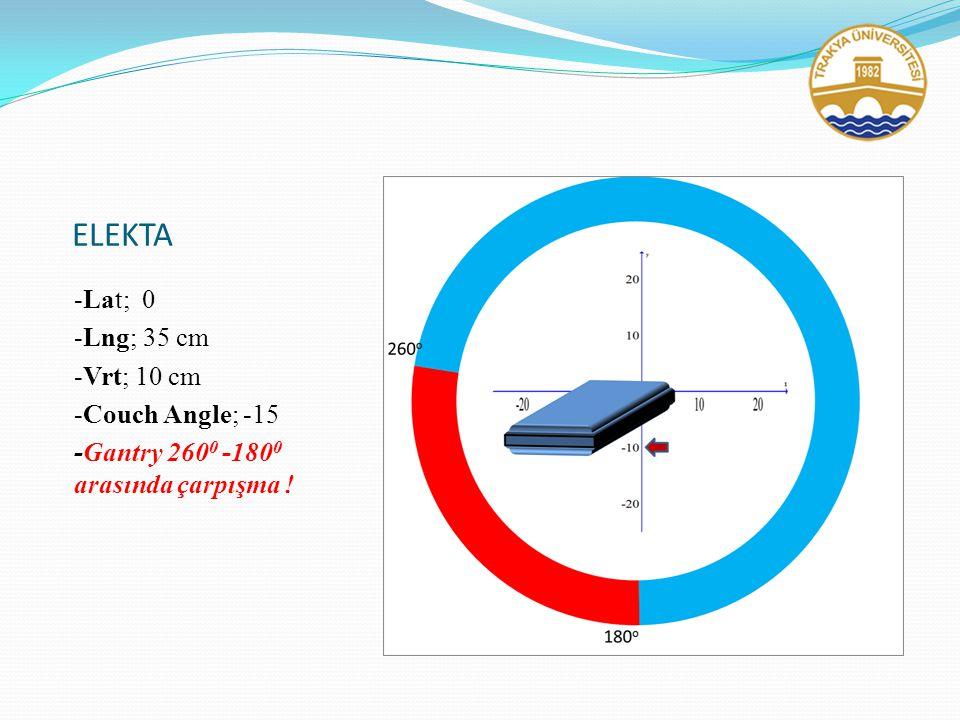 ELEKTA -Lat; 0 -Lng; 35 cm -Vrt; 10 cm -Couch Angle; -15