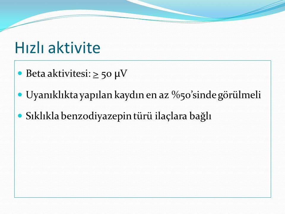 Hızlı aktivite Beta aktivitesi: > 50 µV