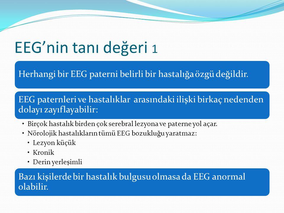 EEG'nin tanı değeri 1 Herhangi bir EEG paterni belirli bir hastalığa özgü değildir.