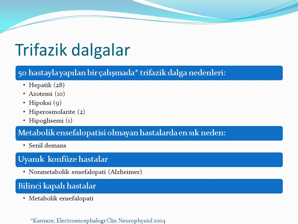 Trifazik dalgalar *Karnaze, Electroencephalogr Clin Neurophysiol 2004
