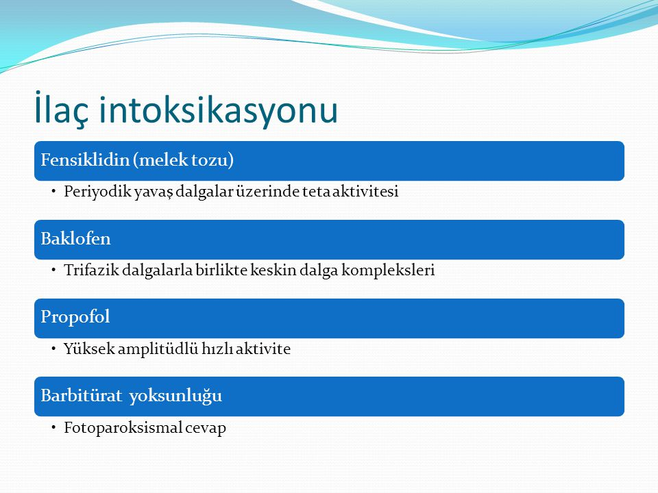 İlaç intoksikasyonu Fensiklidin (melek tozu) Baklofen Propofol