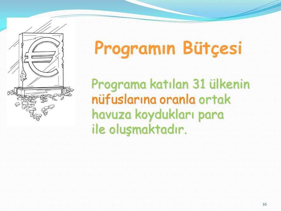 Programın Bütçesi Programa katılan 31 ülkenin nüfuslarına oranla ortak