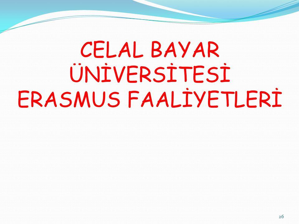 CELAL BAYAR ÜNİVERSİTESİ ERASMUS FAALİYETLERİ