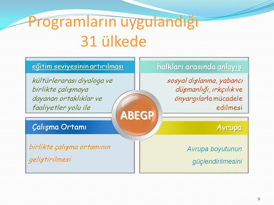 Programların uygulandığı 31 ülkede