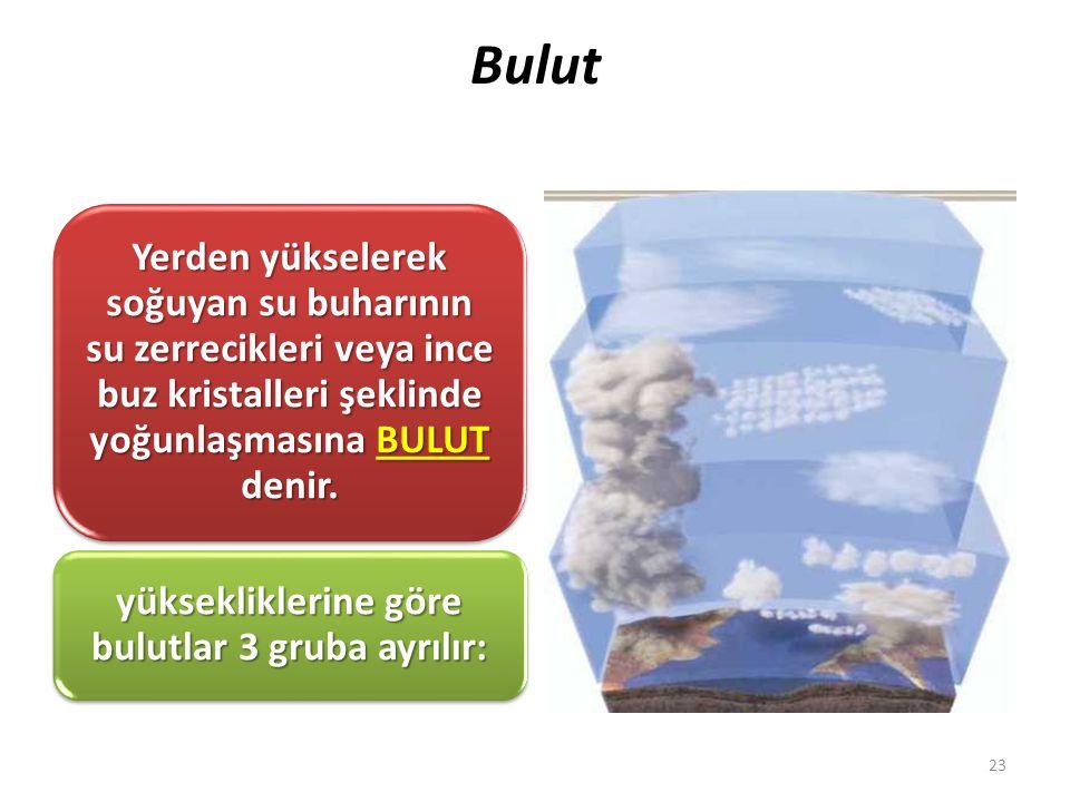 yüksekliklerine göre bulutlar 3 gruba ayrılır:
