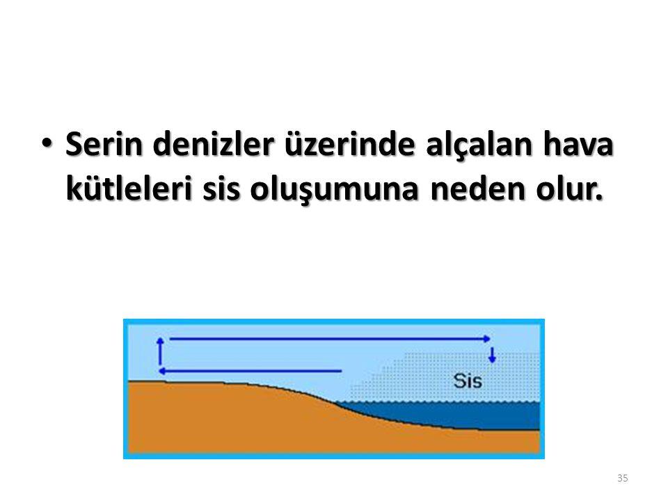 Serin denizler üzerinde alçalan hava kütleleri sis oluşumuna neden olur.