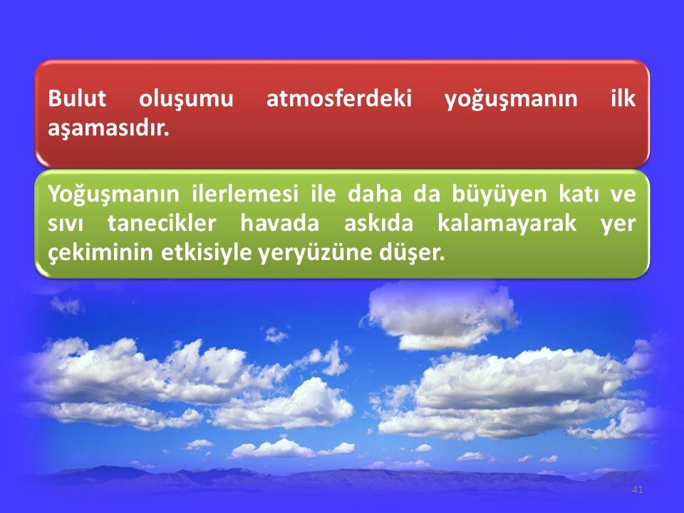 Bulut oluşumu atmosferdeki yoğuşmanın ilk aşamasıdır.