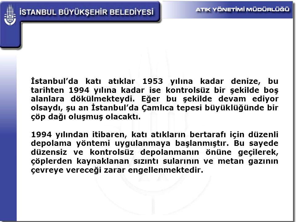 İstanbul'da katı atıklar 1953 yılına kadar denize, bu tarihten 1994 yılına kadar ise kontrolsüz bir şekilde boş alanlara dökülmekteydi. Eğer bu şekilde devam ediyor olsaydı, şu an İstanbul'da Çamlıca tepesi büyüklüğünde bir çöp dağı oluşmuş olacaktı.