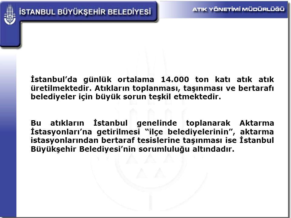 İstanbul'da günlük ortalama 14. 000 ton katı atık atık üretilmektedir