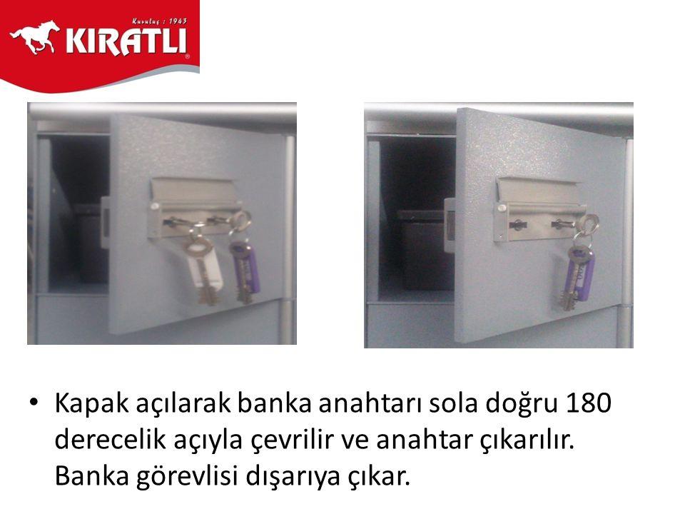 Kapak açılarak banka anahtarı sola doğru 180 derecelik açıyla çevrilir ve anahtar çıkarılır.