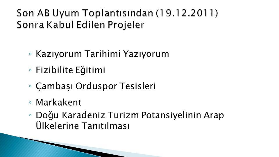Son AB Uyum Toplantısından (19.12.2011) Sonra Kabul Edilen Projeler