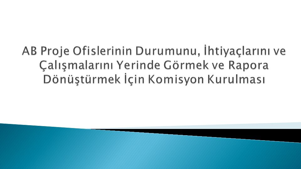 AB Proje Ofislerinin Durumunu, İhtiyaçlarını ve Çalışmalarını Yerinde Görmek ve Rapora Dönüştürmek İçin Komisyon Kurulması
