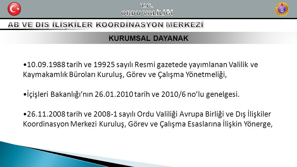 İçişleri Bakanlığı'nın 26.01.2010 tarih ve 2010/6 no'lu genelgesi.