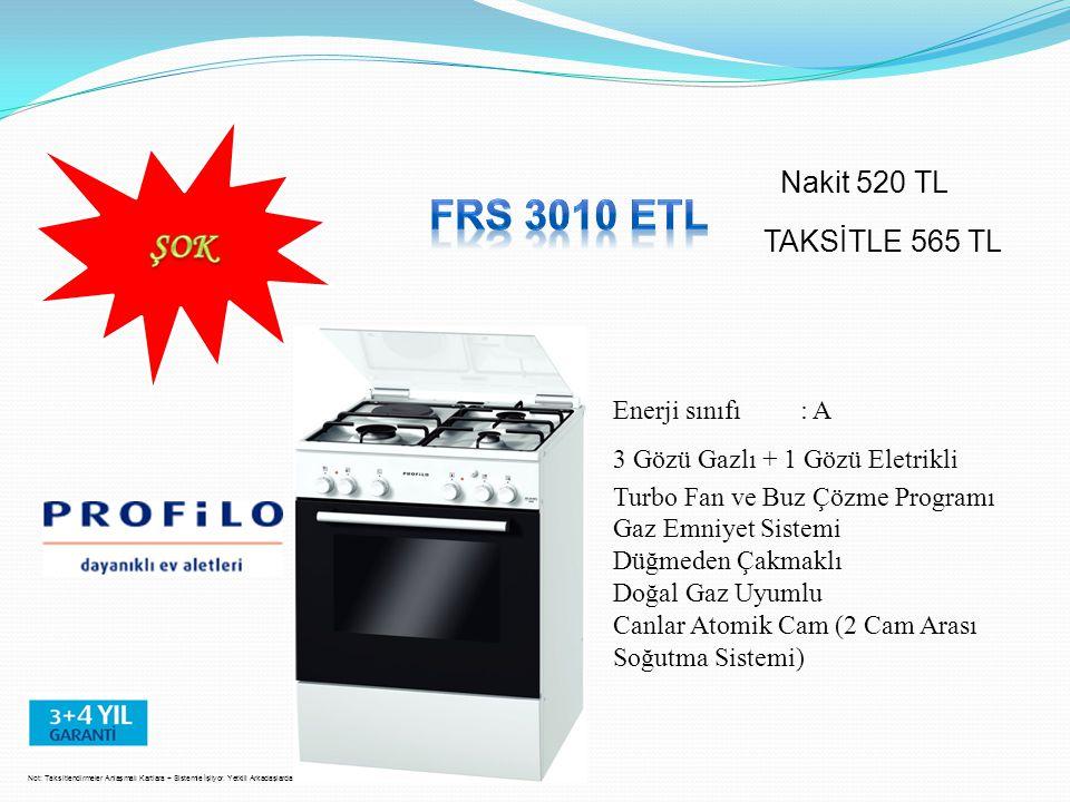 FRS 3010 ETL ŞOK Nakit 520 TL TAKSİTLE 565 TL Enerji sınıfı : A
