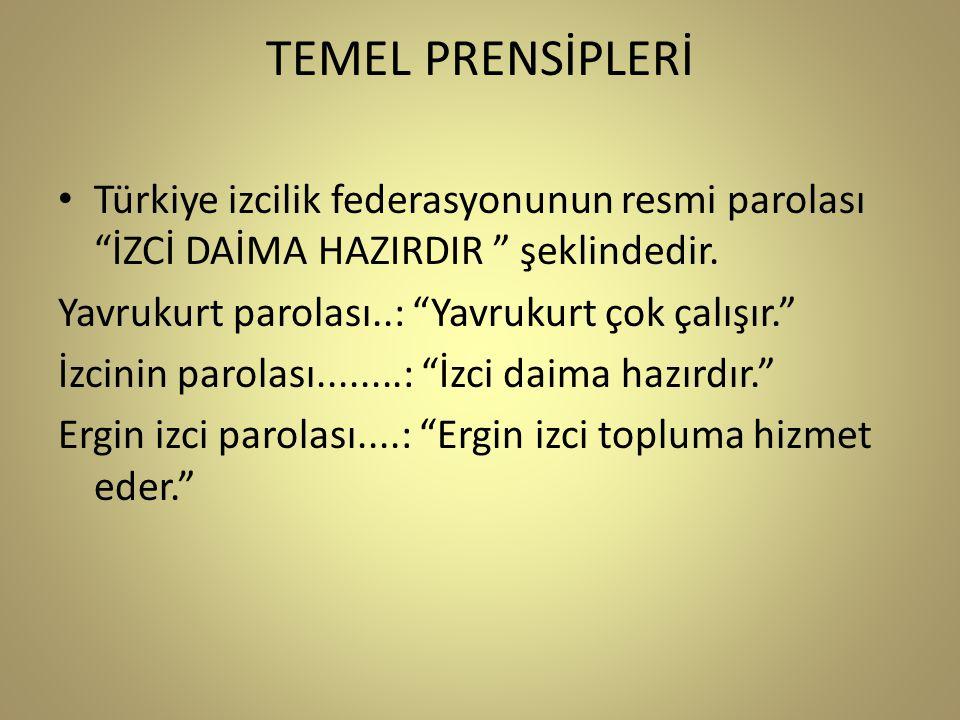 TEMEL PRENSİPLERİ Türkiye izcilik federasyonunun resmi parolası İZCİ DAİMA HAZIRDIR şeklindedir.