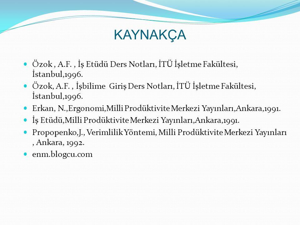KAYNAKÇA Özok , A.F. , İş Etüdü Ders Notları, İTÜ İşletme Fakültesi, İstanbul,1996.