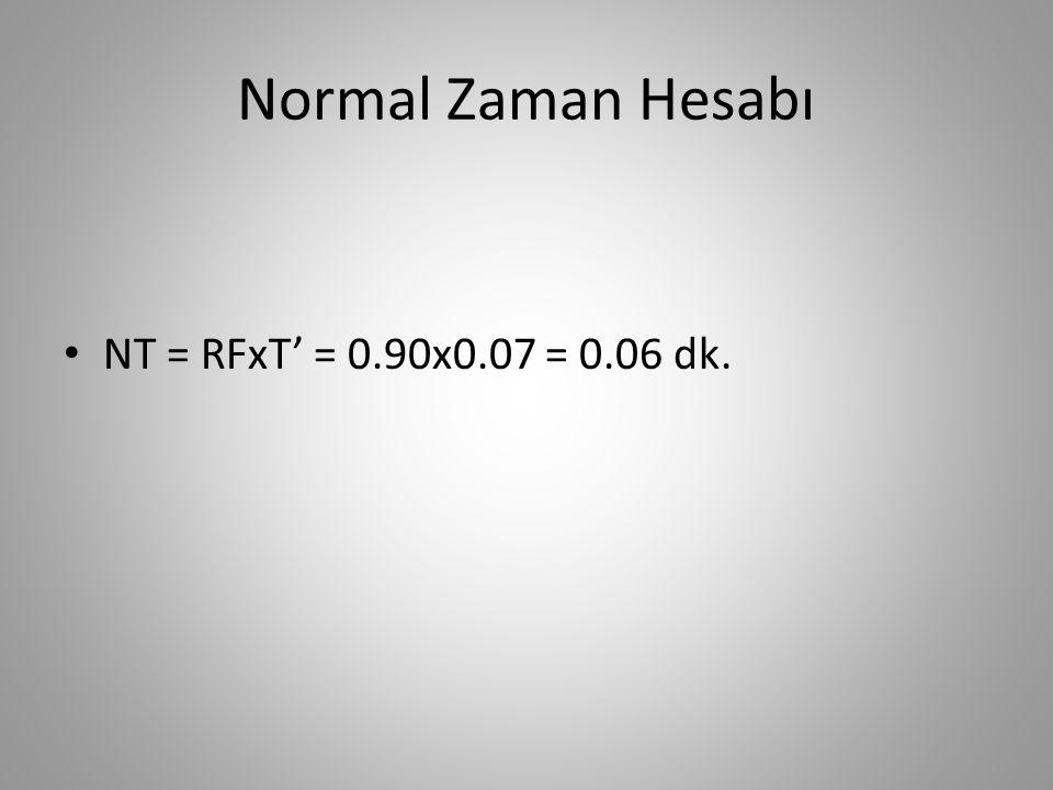 Normal Zaman Hesabı NT = RFxT' = 0.90x0.07 = 0.06 dk.