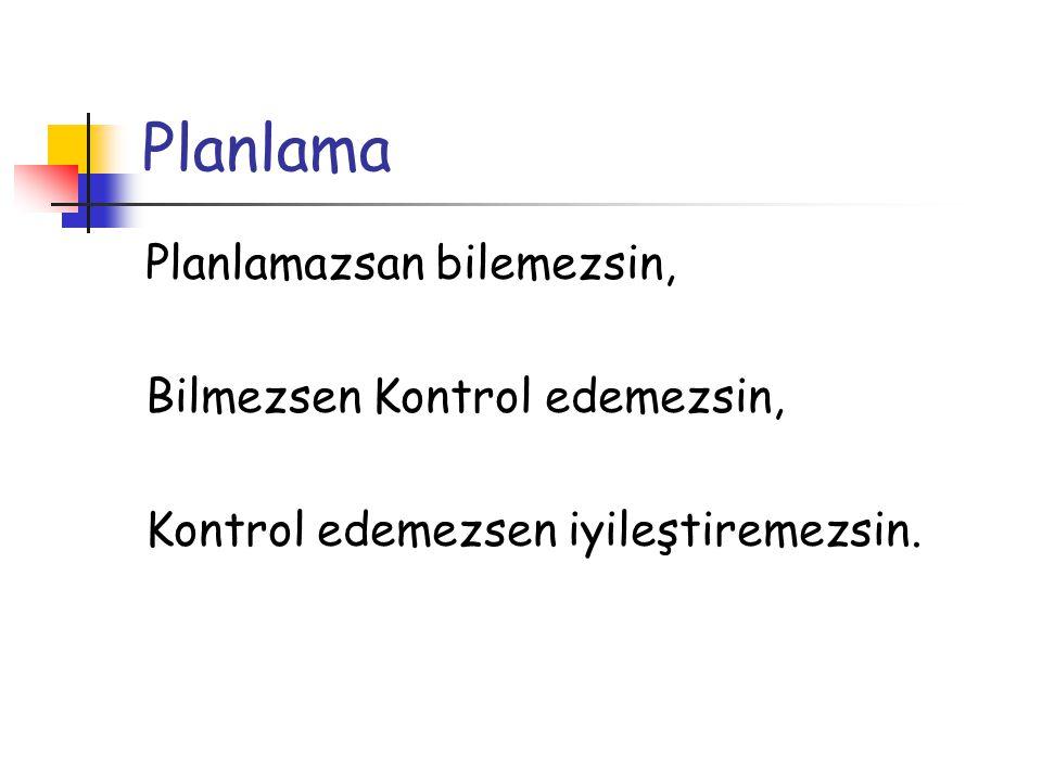 Planlama Planlamazsan bilemezsin, Bilmezsen Kontrol edemezsin,