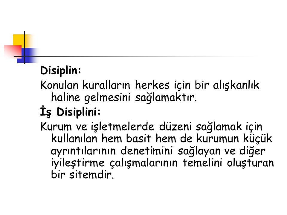 Disiplin: Konulan kuralların herkes için bir alışkanlık haline gelmesini sağlamaktır. İş Disiplini: