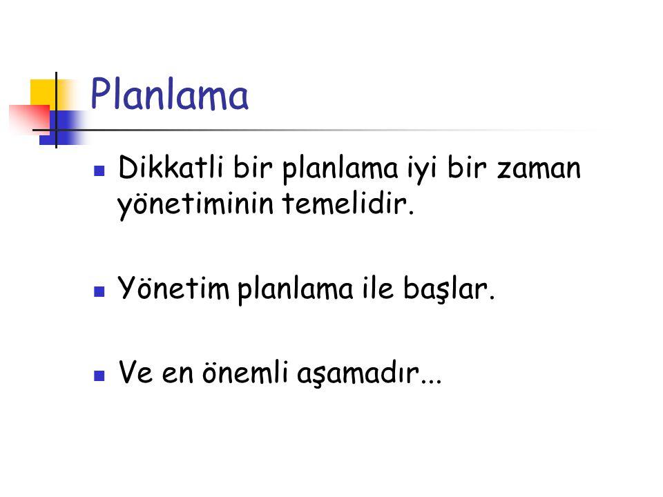 Planlama Dikkatli bir planlama iyi bir zaman yönetiminin temelidir.