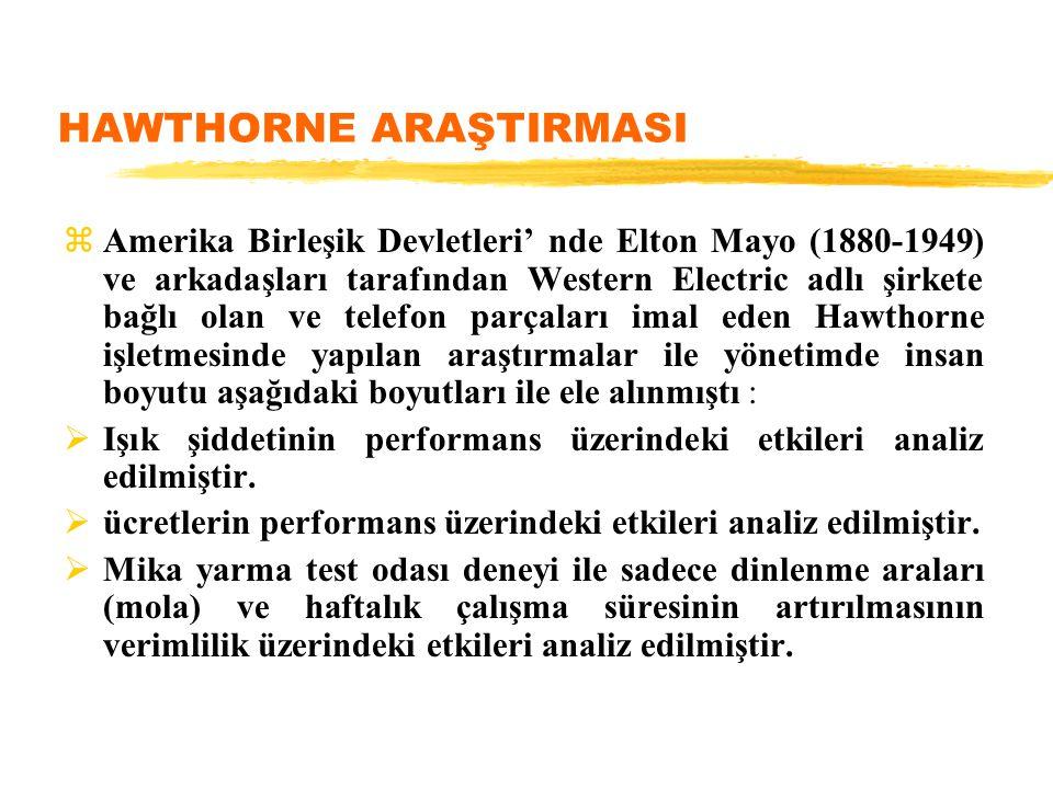 HAWTHORNE ARAŞTIRMASI