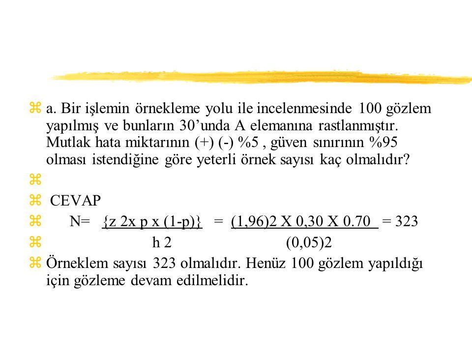 a. Bir işlemin örnekleme yolu ile incelenmesinde 100 gözlem yapılmış ve bunların 30'unda A elemanına rastlanmıştır. Mutlak hata miktarının (+) (-) %5 , güven sınırının %95 olması istendiğine göre yeterli örnek sayısı kaç olmalıdır