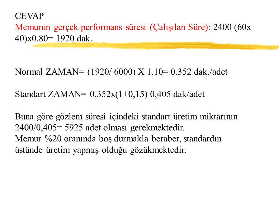 CEVAP Memurun gerçek performans süresi (Çalışılan Süre): 2400 (60x 40)x0.80= 1920 dak. Normal ZAMAN= (1920/ 6000) X 1.10= 0.352 dak./adet.