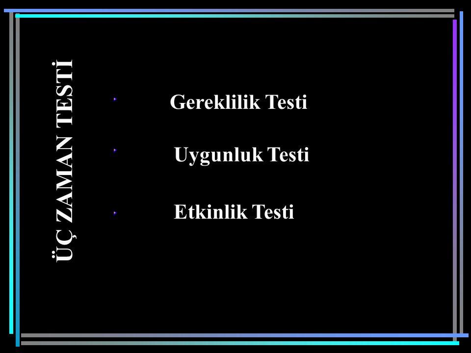 Gereklilik Testi Uygunluk Testi ÜÇ ZAMAN TESTİ Etkinlik Testi