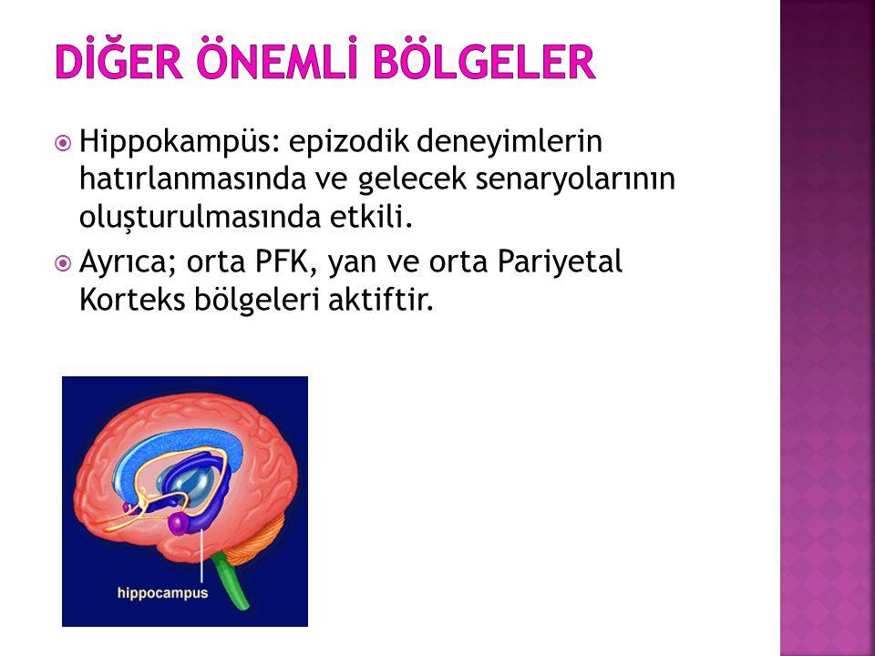 * 16/07/96. DİĞER ÖNEMLİ BÖLGELER. Hippokampüs: epizodik deneyimlerin hatırlanmasında ve gelecek senaryolarının oluşturulmasında etkili.