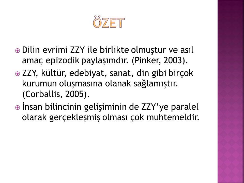 ÖZET Dilin evrimi ZZY ile birlikte olmuştur ve asıl amaç epizodik paylaşımdır. (Pinker, 2003).