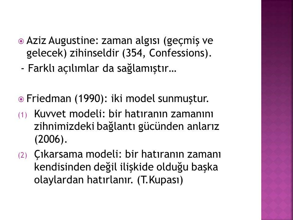 Aziz Augustine: zaman algısı (geçmiş ve gelecek) zihinseldir (354, Confessions).