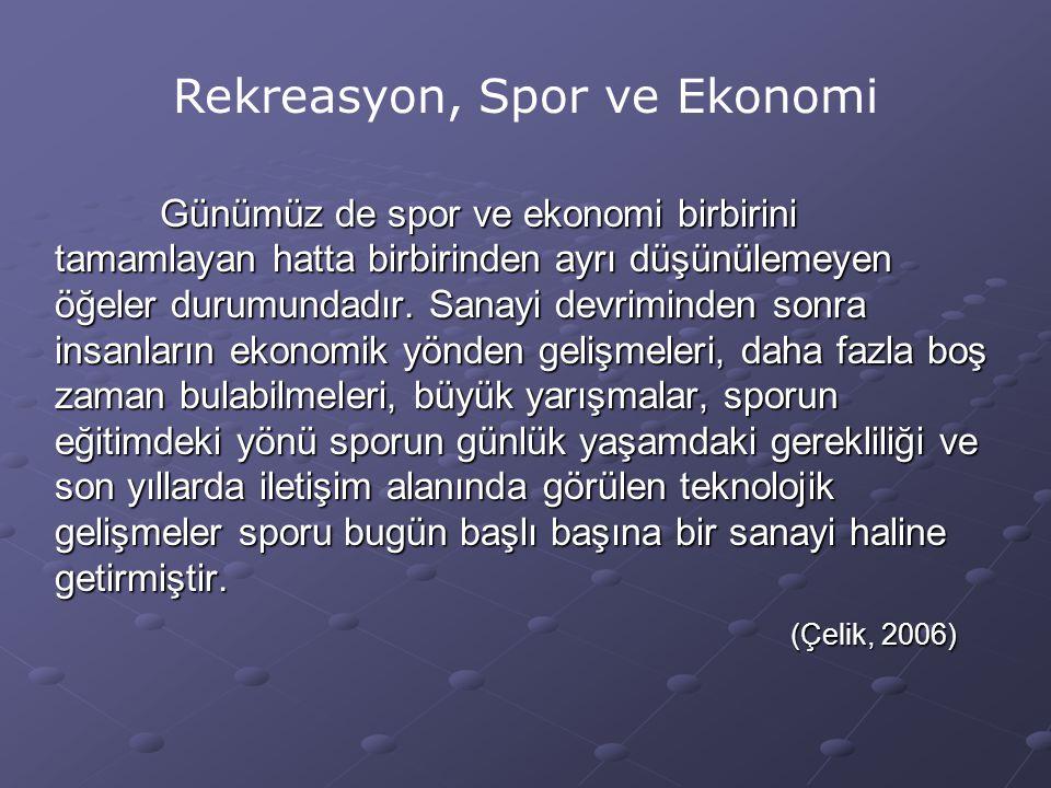 Rekreasyon, Spor ve Ekonomi