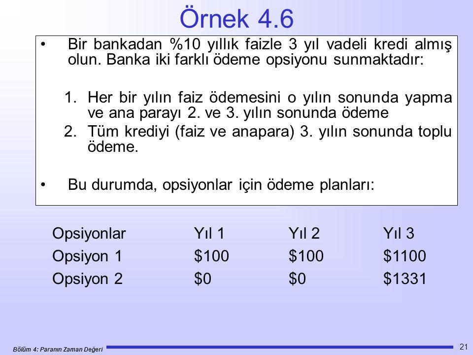Örnek 4.6 Bir bankadan %10 yıllık faizle 3 yıl vadeli kredi almış olun. Banka iki farklı ödeme opsiyonu sunmaktadır:
