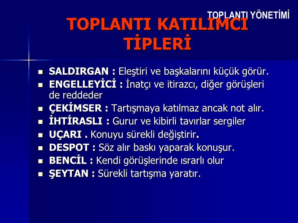 TOPLANTI KATILIMCI TİPLERİ