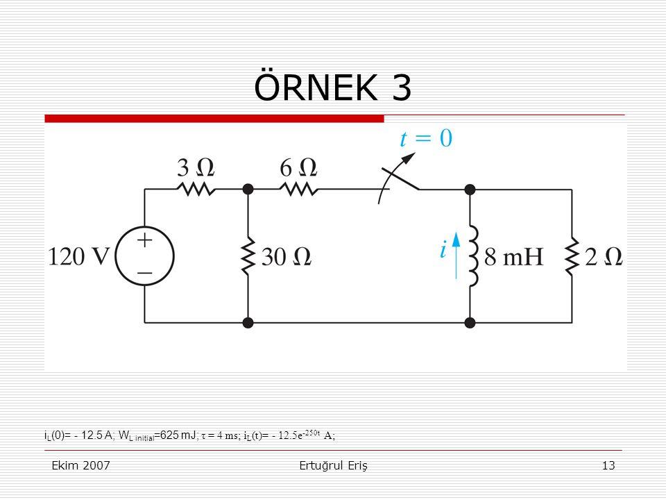 ÖRNEK 3 iL(0)= - 12.5 A; WL initial=625 mJ; τ = 4 ms; iL(t)= - 12.5e-250t A; Ekim 2007.